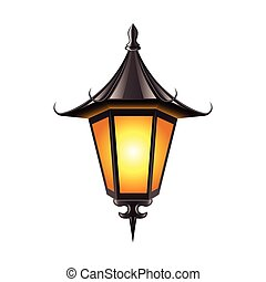 Medieval lamp isolated on white vector - Medieval lamp...