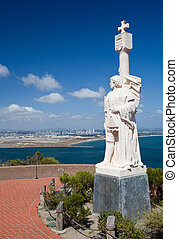 Cabrillo monument and San Diego - Skyline of San Diego in...