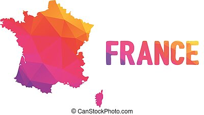 Low polygonal map of France in warm colors, mosaic abstract...