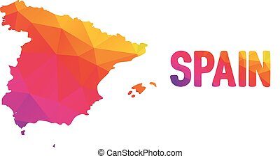 Low polygonal map of Spain in warm colors, mosaic abstract...