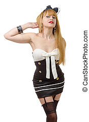 woman with short dress and black stockings - pretty young...