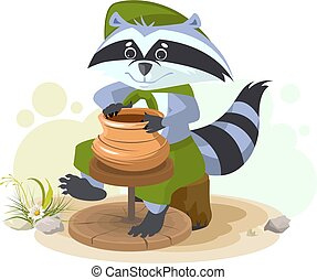 Scout raccoon makes ceramic pot Cartoon illustration