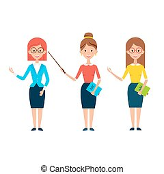 Three Women Teacher Characters Flat Style Vector...