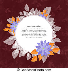 Round flower frame for the text, gray-brown