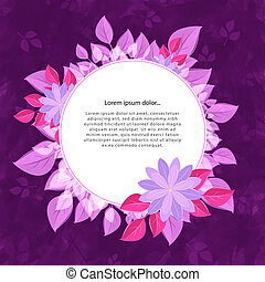 Round flower frame for the text, pink-violet