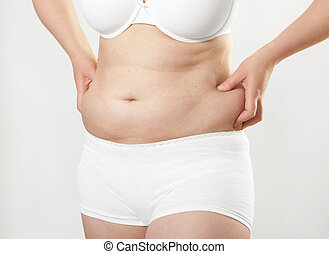 Woman big belly - woman in underwear holding her big belly,...
