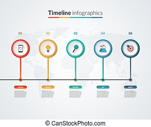 Timeline infographic template Vector banner with 5 circles,...