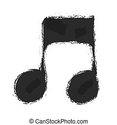 grunge music notes sign icon