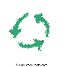 grunge recycling symbol, vector