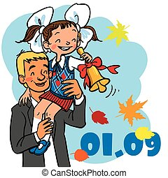 1 september. first bell in school - 1 september. funny...