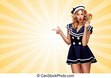 Sweet and tempting. - Surprised pin-up sailor girl with a...