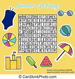Word search puzzle for children, educational game. Summer holidays theme