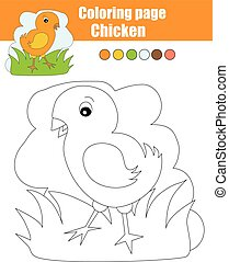 Coloring page with chicken. Educational game, drawing kids activity