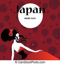 Beautiful japanese girls in kimono. Vector illustration.