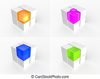 Transparent multi color cube icon 3d illustration
