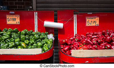 Red and green peppers at Chinatown fruit market in New York...