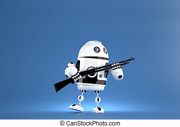 3D Robot with shotgun. Technology concept. 3D illustration....
