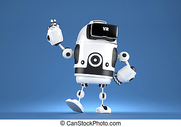 Handsome 3D robot with VR glasses. 3D illustration. Contains...