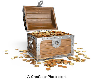 Open wooden treasure chest with golden coins.
