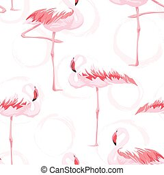 Pink flamingo seamless pattern with textures background,...
