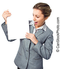 Advertising banner sign - woman excited looking on empty blank billboard paper sign board
