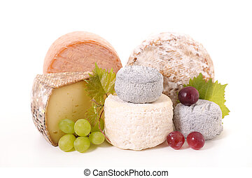 assorted cheese isolated on white