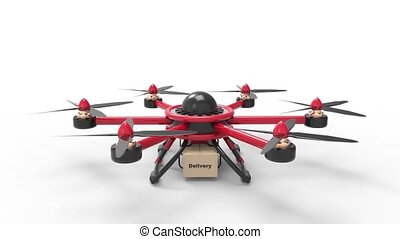 Red drone delivers the goods. Red hexacopter designed to carry. The future delivery of goods. Takeoff and climb from a static state.