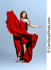 red dress - Beautiful sexual woman in red evening dress...