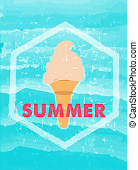summer with ice cream in hexagon frame over blue waves,...
