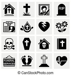 Vector Funeral icon set on grey background