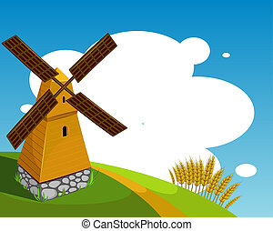fundo, moinho de vento