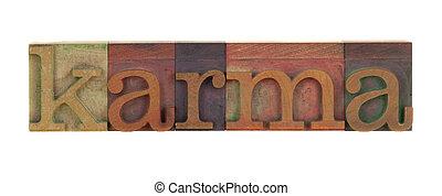 karma - the word karma in vintage wood letterpress type...