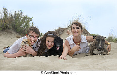 family with dogs