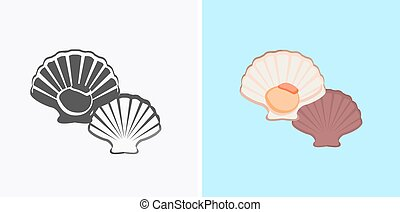 Oysters Variations Vector Illustration - Oysters patterns in...