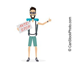 Hitch-Hiking Traveller Character Vector Illustration. -...