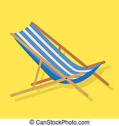Summer Beach Sunbed Lounger - Flat design simple blue white...