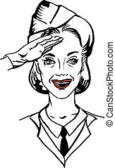 vintage woman soldier salutes - Vector illustration of a...