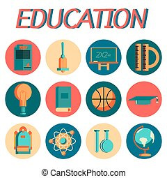 education flat icon set - Set of flat education icons for...