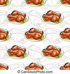 Seamless pattern chicken legs scetch and color. Vector...