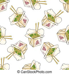 Seamless pattern color chinese noodles box Vector...
