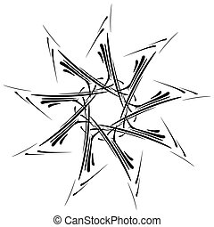 Circular design with distortion effect Abstract monochrome...