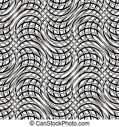 Mesh of wavy, billowy, undulating lines Repeatable geometric...