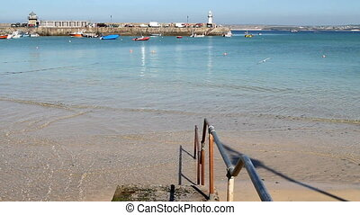 St. Ives shallow clear sea water.