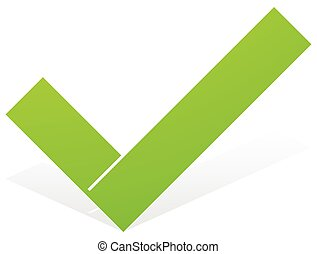 Green check mark, tick icon with snick and shadow isolated...