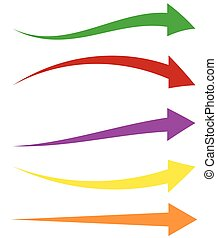 Set of 5 colorful arrow shapes. Long, horizontal arrows