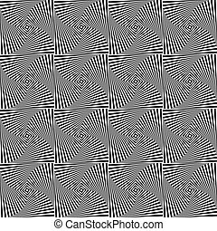 Rotating squares repeatable abstract pattern Monochrome...