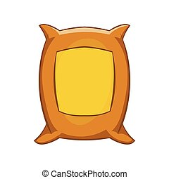 Bag of wheat icon, cartoon style
