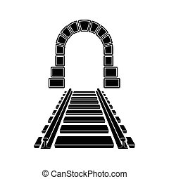 Mountain tunnel and railroad icon, simple style
