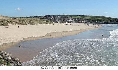 Perranporth beach in Cornwall UK.