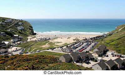 High above Porthtowan - The seaside village Porthtowan in...
